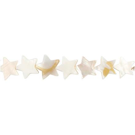 Perlemorsperler, dia. 12 mm, hulstr. 1 mm, perlemor, flad stjerne, 33stk.