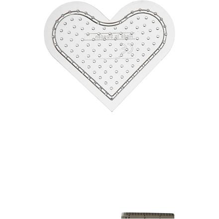 Perleplade , H: 8 cm, transparent, lille hjerte, 1stk.