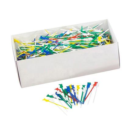 Pindemadspinde kokke plastik assorteret farver - 1000 stk.