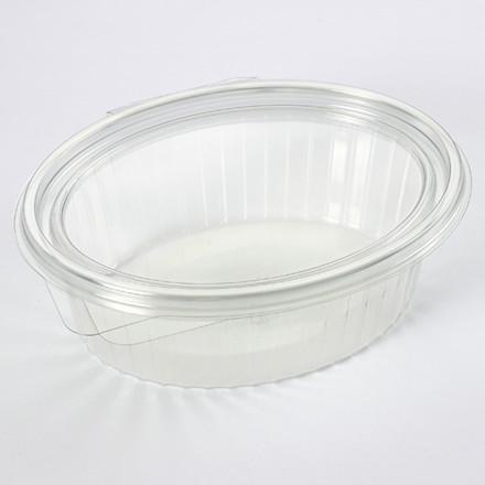Plastbakke med hængslet låg oval 1000 ml 97013 - 50 stk.