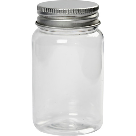 Plastdåse med låg, H: 77 mm, dia. 45 mm, 10stk., 100 ml
