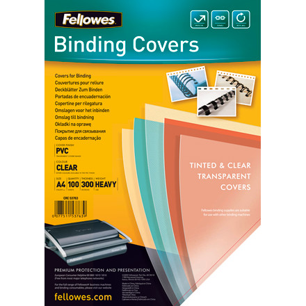 Plastforside Fellowes 300mic klar A4 PVC 100stk/æske