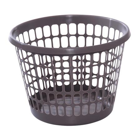 Plastkurv, koksgrå, rund,