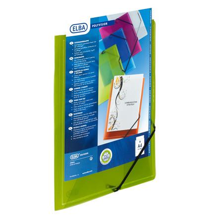 Plastmappe A4 ELBA med forsidelomme og elastik - grøn