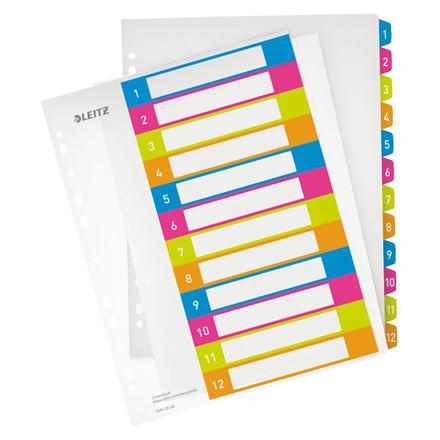 Plastregister 1-12 Leitz WOW A4+ - farvede faner og printbar forside