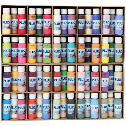 Plus Color hobbymaling, ass. farver, 60x60ml