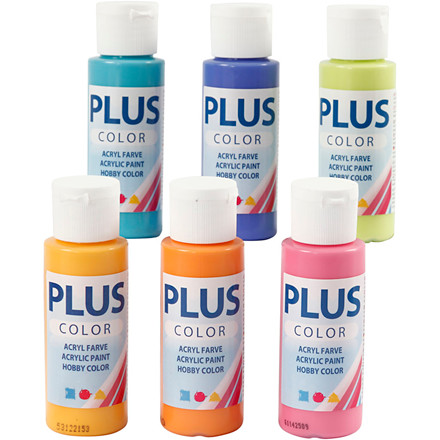 Plus Color hobbymaling assorteret farver colorful - 6 x 60 ml