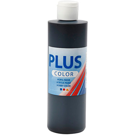 Plus Color hobbymaling, black, 250ml