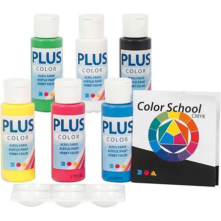 Plus Color hobbymaling - farveskole, primærfarver, Farveskolevejledning medfølger, 6x60ml