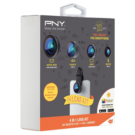 PNY 4-IN-1 Lens Kit for Smartphone, Black