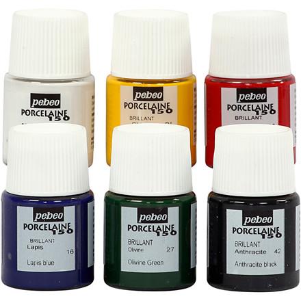 Porcelænsmaling sæt med 6 forskellige farver Porcelaine 150 - 6 x 20 ml