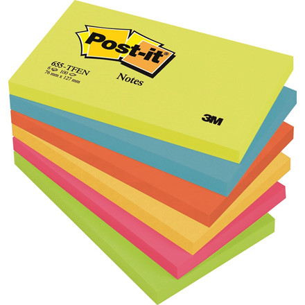 Post-it - Notes i neon farver  76 x 127 mm 655TFEN - 6 blokke