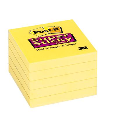 Post-it - Notes Super Sticky gule 76 x 76 mm 90 ark- 12 blokke