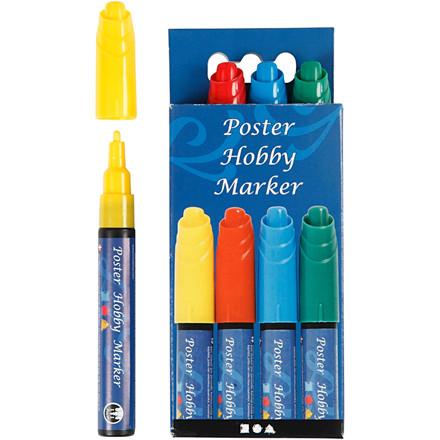 Poster Hobby Marker, stregtykkelse: 3 mm, blå, grøn, gul, rød, 4stk.