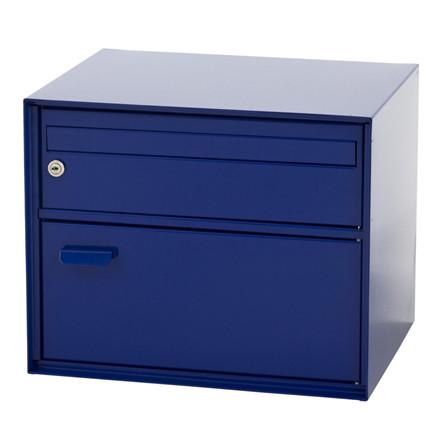 Postkasse PTT, V-part, klar til vægmontering, blå,