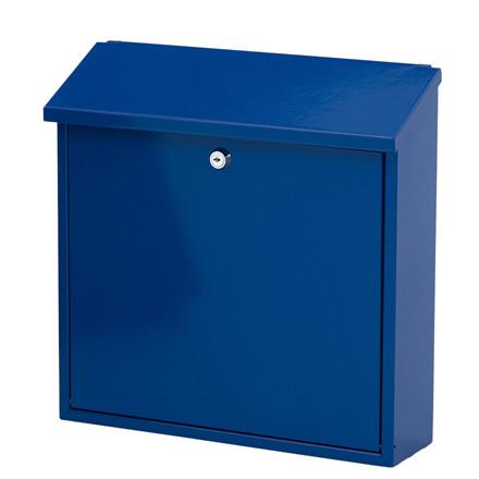 Postkasse, V-part, klar til vægmontering, blå,