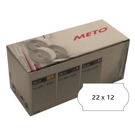 Prisetiket Meto 22x12mm hvid klæb 2 1500stk/rul