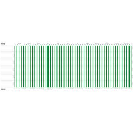 Projektplanner 2019 grøn 80 x 30 cm falset til A4 - 20 1050 00