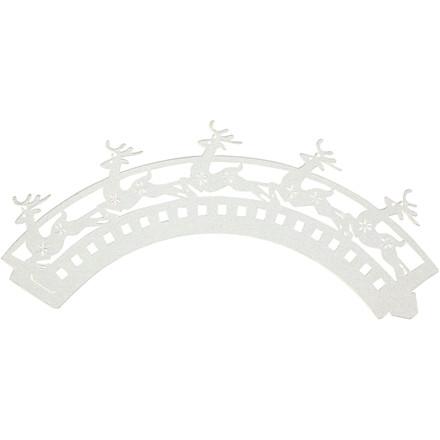 Pyntebort, H: 5 cm, dia. 8 cm, hvid, rensdyr, 12stk., 230 g