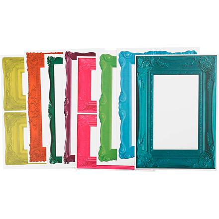 Rammer, ark 26,2x18,5 cm, stærke farver, 16ass. ark