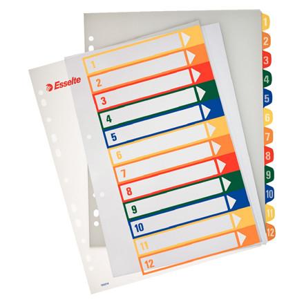 Faneblade i plast 1-12 Esselte A4 maxi - farvede faner og printbar forside