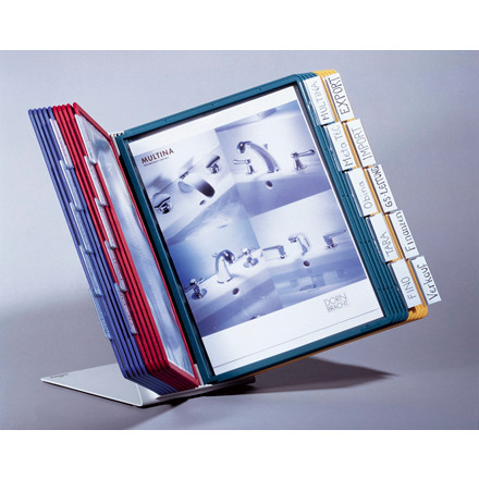 A4 registersystem Sherpa VARIO med 20 lommer - lysegrå bordmodel