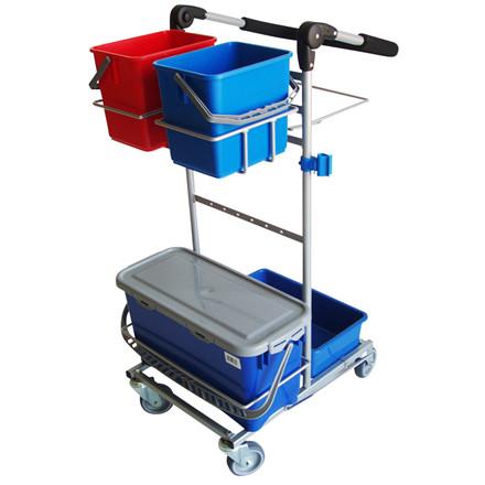 Rengøringsvogn, Mini Ergo, Indeholder: spandeholder lille, sækkeholder 60 ltr., mopholder, spandehol