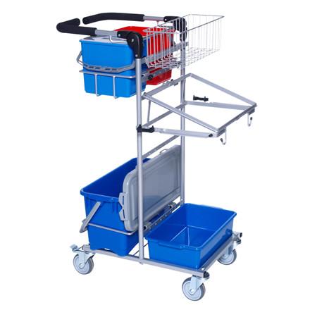 Rengøringsvogn, Mini Ergo, sølv, Indeholder: hjul med bremse, spandeholder lille, mopholder, spand h