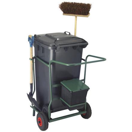 Robust trækvogn, med affaldscontainer  240 l, kost, spade, og affaldsspand 21 L, grøn,