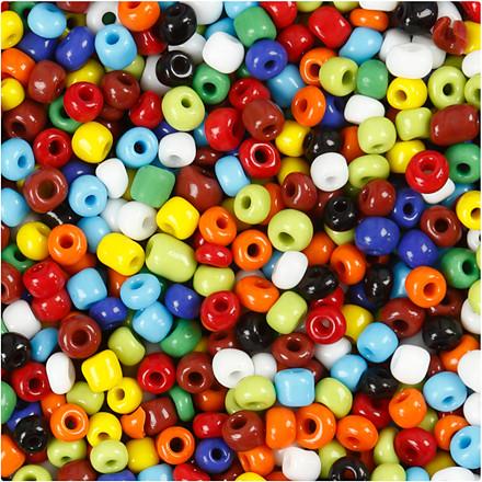 Rocai-mix, str. 6/0 , diam. 4 mm, ass. farver, 130g, hulstr. 0,9-1,2 mm