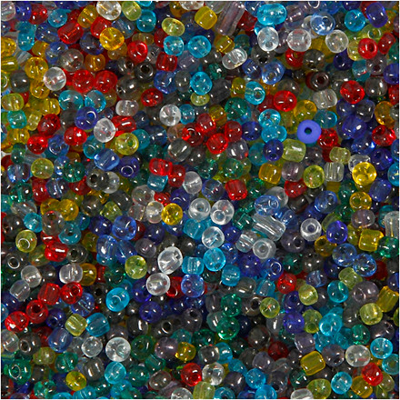Rocai-mix, str. 6/0 , diam. 4 mm, transparente farver, 130g, hulstr. 0,9-1,2 mm