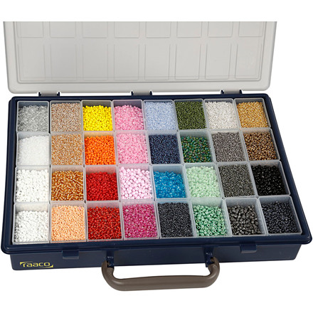 Rocai perler, hulstr. 0,5-0,8 mm, hulstr. 0,6-1 mm, inkl. Raaco opbevaringsæske, 32x100g