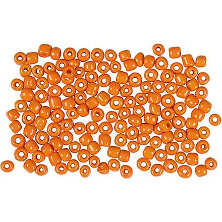 Rocaiperler, dia. 3 mm, hulstr. 0,6-1,0 mm, orange  , 25g, str. 8/0