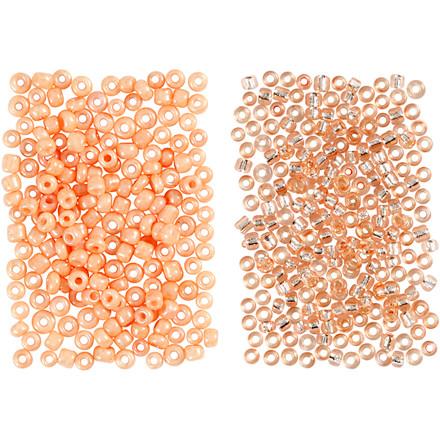 Rocaiperler, str. 15/0 , hulstr. 0,5-0,8 mm, fersken, lys fersken, 2x7g