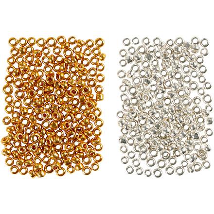 Rocaiperler, str. 15/0 , hulstr. 0,5-0,8 mm, guld, sølv, 2x7g