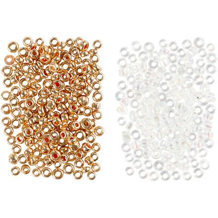 Rocaiperler, str. 15/0 , hulstr. 0,5-0,8 mm, hvid, rosaguld, 2x7g