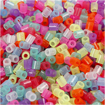 Rørperler størrelse medium 5 x 5 mm - hulstr. 2,5 mm - glitterfarver - 1100 assorteret