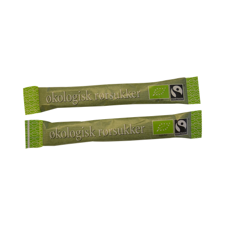 Rørsukker Fairtrade økologi - 1000 sticks á 3 gram