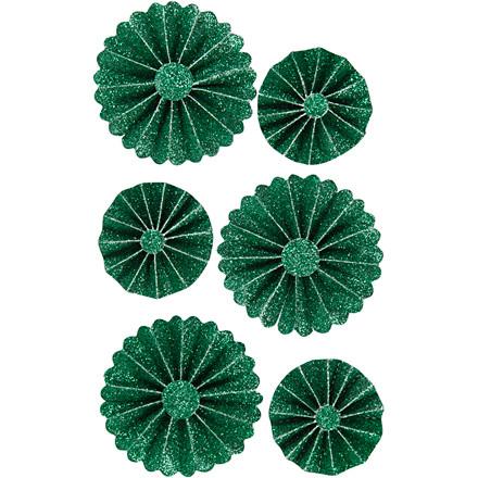Rosetter diameter 35+50 mm grøn glitter | 6 stk.