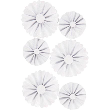 Rosetter diameter 35+50 mm hvid glitter   6 stk.