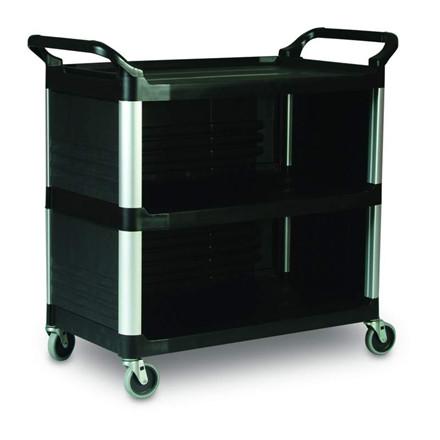 Rullebord, Rubbermaid X-Tra Cart, 1,032m x 50,8x96cm, sort, PP, med styr, 3 hylder, 3 lukkede sider *Denne vare tages ikke retur*