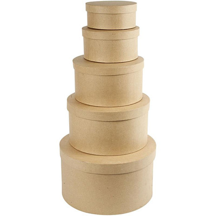 Runde hatteæsker i assorteret størrelser | 5 stk.