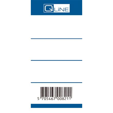 Rygetiketter - Q-Line blå til brevordner med bred 75 mm ryg - 100 stk