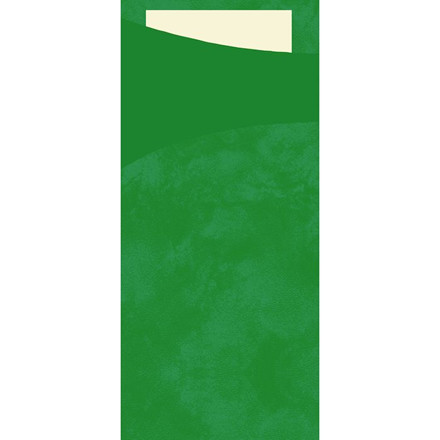 Sachetto bestikpose med serviet, Duni, mørkegrøn m/buttermilk, papir, 8,50cm x 20cm