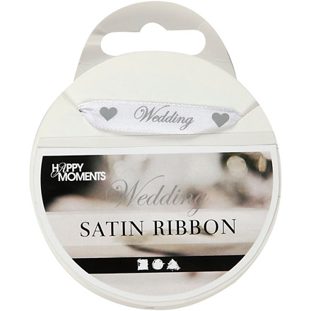 Satinbånd bredde 10 mm hvid wedding | 8 meter