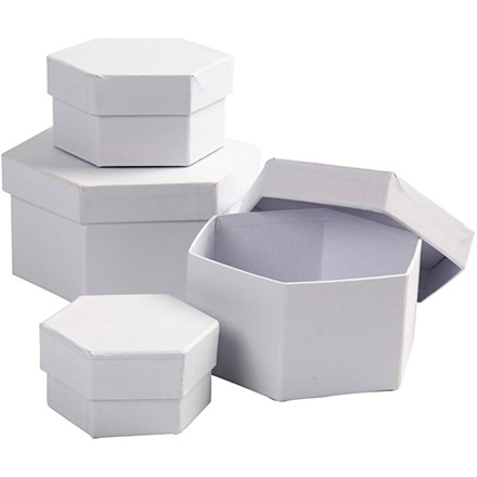 Sekskantede æsker diameter 6,5 + 8 + 10 + 12 cm Højde 4 + 5 + 6 + 7 cm | 4 stk.