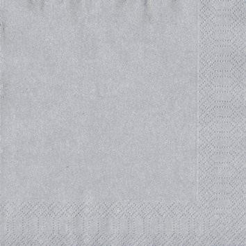 Servietter sølv 33 x 33 cm 3-lags - 500 stk