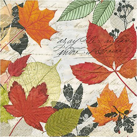 Servietter, str. 33x33 cm, Efterårsblade , 20stk.
