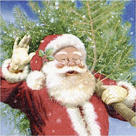 Servietter, str. 33x33 cm, julemand med juletræ, 20stk.