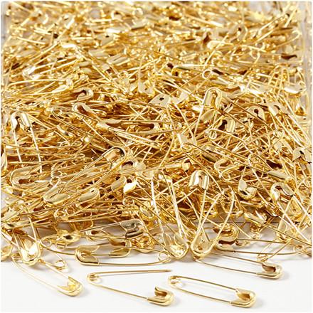 Sikkerhedsnåle guldfarvet længde 22 mm - 500 stk.